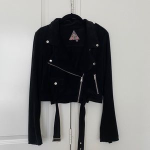 Faux Suede Black Cropped Moto Jacket
